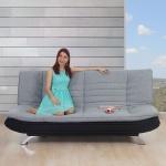 Sofa Lissabon, Loungesofa Couch, Textil grau/schwarz