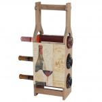 Weinflaschenhalter Bordeaux, Holz-Flaschenhalter Weinflaschenständer, für 3 Flaschen Shabby-Look