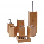 7-teiliges Badset HWC-A90, WC-Garnitur Badezimmerset Badaccessoires Seifenspender Zahnbürstenhalter Seifenschale, Bambus