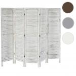 Paravent 170x228x2cm, Shabby-Look, Vintage weiß