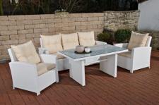 Gartenbar CP464, Gartengarnitur Sitzgruppe, Poly-Rattan weiß
