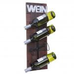 Weinregal HWC-A90, Flaschenregal Wandregal Flaschenhalter, Holz Metall für 4 Flaschen 60x20x11cm
