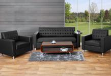 3-1-1 Sofagarnitur Kunda, Couch Loungesofa Kunstleder, Metall-Füße schwarz