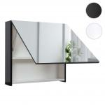 Spiegelschrank HWC-C11, Wandspiegel Badspiegel Badezimmer, aufklappbar hochglanz 58x60cm schwarz