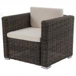 Modulares Poly-Rattan Sofa Rom Basic, Sessel, rundes Rattan, 75x87x74cm, grau