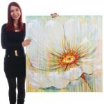Ölgemälde Weiße Blume, 100% handgemalt, 100x100cm