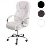 Profi-Bürostuhl Kansas XXL Chefsessel Drehstuhl US-Version, 150kg belastbar, Kunstleder weiß