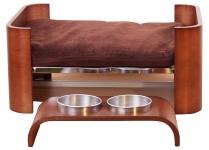 Hundebett H55, Hundekorb Hundeplatz, mit Napfhalter und Edelstahlschalen
