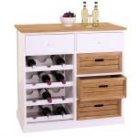 Weinregal HWC-B96, Kommode Flaschenregal für 12 Flaschen mit Schubladen, Landhaus 86x87x37cm