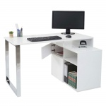 Eckschreibtisch HWC-A72, Bürotisch Schreibtisch Computertisch, hochglanz 120x80cm weiß