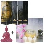 Set Foto-Paravent+Deko Figur, Raumteiler 180x200cm, Polyresin Skulptur 39cm, Buddha