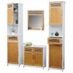 Badezimmerset HWC-A85, 2x Hochschrank Waschbeckenunterschank Spiegel Bambus, weiß