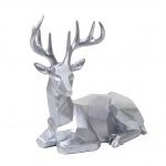 Deko Figur Hirsch HWC-D29, Reh Deko-Hirsch Tierfigur Skulptur Statue, liegend Indoor/Outdoor, Polyresin 33x30x15cm