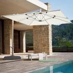 Luxus-Ampelschirm HWC-A36, Gartenschirm Sonnenschirm mit Ständer, 3x3m (Ø4, 24m) Polyester/Alu 28kg
