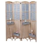 Paravent HWC-D26 Pflanzkörbe, Raumteiler Trennwand spanische Wand Sichtschutz, Holz Metall 170x161x29cm