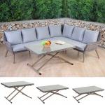 Luxus Poly-Rattan-Garnitur Bilbao, Premium Lounge-Esstisch-Set Gartengarnitur, Alu-Gestell