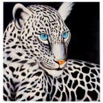 Ölgemälde Weißer Leopard, 100% handgemalt XL, 100x100cm