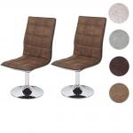 2x Esszimmerstuhl HWC-C41, Stuhl Lehnstuhl, höhenverstellbar drehbar, Stoff/Textil