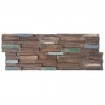 10x Teak-Holzfliesen HWC-B95 (1qm), 3D Wandfliesen Wandverkleidung Mosaikfliesen vintage braun