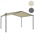Pergola HWC-A42, Garten Pavillon Terrassenüberdachung, stabiles 6cm Stahl-Gestell 4x3m creme