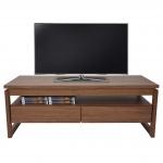 TV-Rack Baar, Fernsehtisch Lowboard mit Schubladen, 39x105x49cm Walnuss-Optik