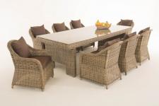 Garten-Garnitur CP065 XL, Sitzgruppe Lounge-Garnitur, Poly-Rattan Kissen terrabraun, natur
