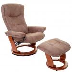 MCA Relaxsessel Hamilton, Fernsehsessel Hocker, Stoff/Textil 130kg belastbar antikbraun, honigfarben