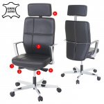 Bürostuhl MERRYFAIR Luton, Schreibtischstuhl, Sliding-Funktion Leder ISO9001 130kg belastbar