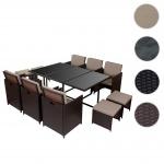 Poly-Rattan Garten-Garnitur Kreta, Lounge-Set Sitzgruppe 10 Sitzplätze braun, Kissen beige