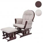 Relaxsessel HWC-C76, Schaukelstuhl Stillstuhl Sessel Schwingstuhl Schwingsessel mit Hocker, Stoff/Textil creme-grau