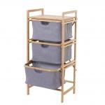 Wäschesammler HWC-B56, Regal Wäschesortierer Wäschekorb Badregal Aufbewahrung, Bambus 96x44x34cm 78l