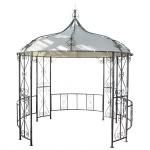 Pergola Almeria, Garten Pavillon, stabiles Stahl-Gestell Ø 3m