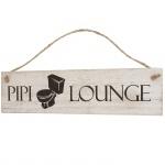 Wandschild Pipi-Lounge, Dekoschild, Shabby-Look 11x43x1cm weiß