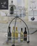 Beistelltisch Beistellwagen, Glas, D=57cm, H=75cm