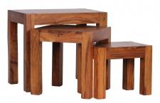 3-Satz-Tisch Malatya, Beistelltisch, Sheesham Massivholz, 50x45x35cm
