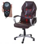 Massage-Bürostuhl HWC-A69, Drehstuhl Chefsessel, Heizfunktion Massagefunktion Kunstleder bordeaux