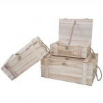 3er Set Holzbox Dornbirn S+M+L, Holzkiste Schatztruhe Aufbewahrungsbox