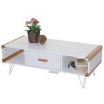 Couchtisch Toledo, Wohnzimmertisch Beistelltisch mit Bambus, weiß 100x45x35cm