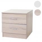 Kommode Aarhus, Nachtschrank Nachttisch, 2 Schubladen 41x40x35cm Eiche-Optik