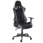 Bürostuhl HWC-D25, Schreibtischstuhl Gamingstuhl Chefsessel Bürosessel, 150kg belastbar Textil/Stoff schwarz/grau