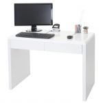 Design Schreibtisch Edmonton, Bürotisch Computertisch, hochglanz 100x50cm weiß
