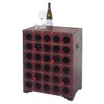 Weinregal Calvados, Flaschenregal Regal Holzregal für 30 Flaschen, Kolonialstil 80x61x40cm