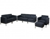 3-2-1 Sofagarnitur HWC-C19, Modular-Sofa Loungesofa, erweiterbar Kunstleder schwarz
