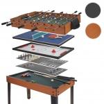 Tischkicker HWC-E12, Tischfussball Billard Hockey 7in1 Multiplayer Spieletisch, 82x107x60cm Buche-Optik