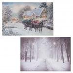 2x LED-Bild, Leinwandbild Leuchtbild Wandbild 60x40cm Snow