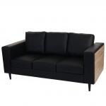 3er Sofa Nancy, Couch Kunstleder, schwarz