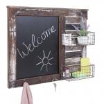 Wandgarderobe HWC-A94, Wandorganizer mit Tafel, Körbe Shabby-Look Vintage 56x68cm