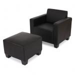 Sessel Loungesessel mit Ottomane Lyon, Kunstleder schwarz