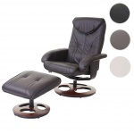 Relaxsessel HWC-C46, Fernsehsessel Sessel mit Hocker, Kunstleder braun