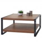 Couchtisch HWC-A27, Wohnzimmertisch Tisch, 80x80x40cm 3D-Struktur, Wildeiche-Optik